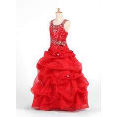Hasta el suelo Escote redondo Organdí/Charmeuse Vestidos para niña de arras con Lazo(s)/Rhinestone/La Recogida Falda (010007425)
