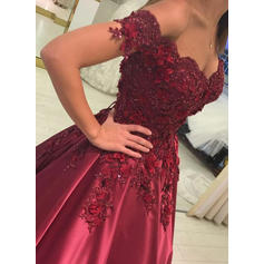 Satin Sleeveless Ball-Gown Prom Dresses Off-the-Shoulder Beading Appliques Lace Floor-Length