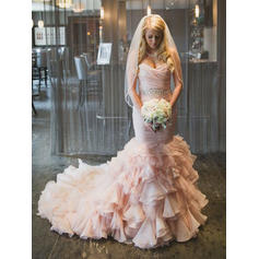 Trumpet/Mermaid Sweetheart Chapel Train Wedding Dresses With Cascading Ruffles (002144941)