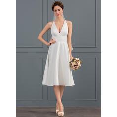 A-Line V-neck Knee-Length Satin Wedding Dress
