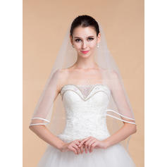 One-tier Ribbon Edge Cathedral Bridal Veils With Ribbon