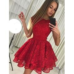 A-Line/Princess Scoop Neck Sleeveless Short/Mini Lace Bow(s) Homecoming Dresses