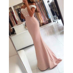 Trumpet/Mermaid Off-the-Shoulder Sweep Train Evening Dresses With Appliques