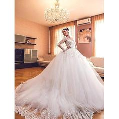Modern Court Train Ball-Gown Wedding Dresses V-neck Tulle Long Sleeves