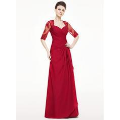 Vestidos princesa/ Formato A Amada Longos Tecido de seda Vestido para a mãe da noiva com Apliques de Renda Babados em cascata (008062533)