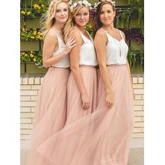 A-Line/Princess Chiffon Tulle Bridesmaid Dresses V-neck Sleeveless Floor-Length (007144965)