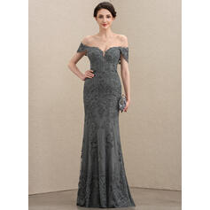 Trumpet/Mermaid Off-the-Shoulder Floor-Length Tulle Lace Evening Dress With Sequins