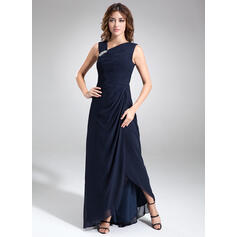 A-Line V-neck Asymmetrical Chiffon Mother of the Bride Dress With Ruffle Beading (008006460)