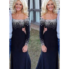 Trumpet/Mermaid Off-the-Shoulder Jersey Long Sleeves Sweep Train Beading Mother of the Bride Dresses