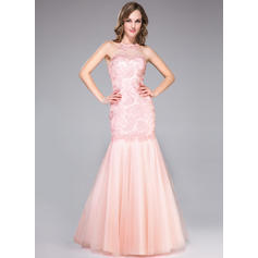 Trumpet/Mermaid Tulle Lace Prom Dresses Ruffle Beading Scoop Neck Sleeveless Floor-Length (018046197)