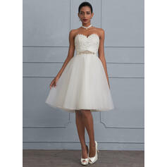 A-Line Sweetheart Knee-Length Tulle Wedding Dress With Beading