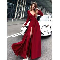 A-Line/Princess V-neck Chiffon Long Sleeves Floor-Length Ruffle Evening Dresses