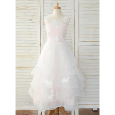 A-Line Floor-length Flower Girl Dress - Tulle/Lace Sleeveless Scoop Neck With Back Hole (010193056)