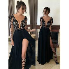 Chiffon Long Sleeves A-Line/Princess Prom Dresses Scoop Neck Lace Floor-Length