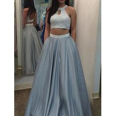 A-Line/Princess Floor-Length Prom Dresses Scoop Neck Satin Sleeveless (018145907)