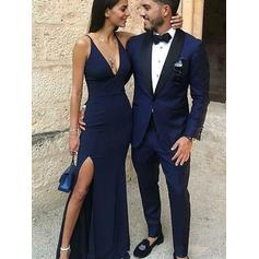 Jersey Sleeveless Sheath/Column Prom Dresses V-neck Split Front Floor-Length