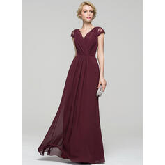 A-Line/Princess V-neck Floor-Length Chiffon Evening Dress With Ruffle Lace Bow(s) (017086897)