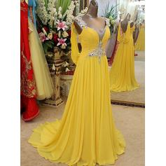 A-Line/Princess V-neck Chiffon Sleeveless Sweep Train Beading Appliques Lace Evening Dresses