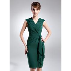 Sheath/Column Chiffon Sleeveless V-neck Knee-Length Zipper Up Mother of the Bride Dresses