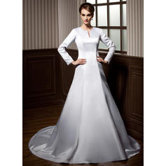 Modern Chapel Train A-Line/Princess Wedding Dresses Scoop Satin Long Sleeves