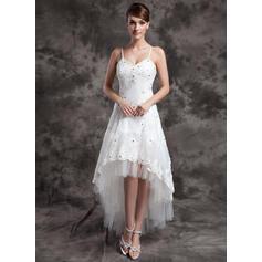 Coupe Évasée Col V Asymétrique Organza Tulle Robe de mariée avec Brodé Motifs appliqués Dentelle (002024067)