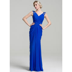 Trumpet/Mermaid V-neck Jersey Sleeveless Floor-Length Ruffle Beading Mother of the Bride Dresses