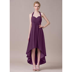 A-Line Halter Asymmetrical Chiffon Bridesmaid Dress