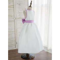 Vestidos princesa/ Formato A Longuete Vestidos de Menina das Flores - Cetim Sem magas Decote redondo com Curvado (Faixa desmontável) (010148821)
