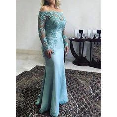 Trumpet/Mermaid Off-the-Shoulder Satin Long Sleeves Floor-Length Lace Appliques Lace Mother of the Bride Dresses
