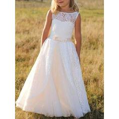 Stunning Scoop Neck A-Line/Princess Flower Girl Dresses Floor-length Lace Sleeveless