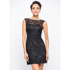 Beading Sequins A-Line/Princess Scoop Neck Lace Cocktail Dresses