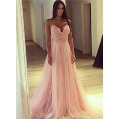 Tulle Sleeveless A-Line/Princess Prom Dresses V-neck Appliques Lace Sweep Train