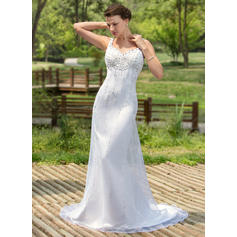 Satin Organza Sleeveless Trumpet/Mermaid With Newest Wedding Dresses (002000384)