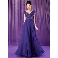 Vestidos princesa/ Formato A Tecido de seda Lantejoulas Sem magas Cowl Neck Longos Zipper ao lado Vestidos para a mãe da noiva (008213155)