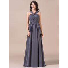 A-Line/Princess Chiffon Bridesmaid Dresses Ruffle V-neck Sleeveless Floor-Length (007057711)