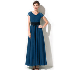 A-Line/Princess Chiffon Short Sleeves V-neck Ankle-Length Zipper Up at Side Mother of the Bride Dresses