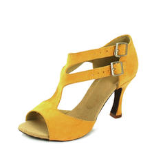 Women's Latin Heels Sandals Suede With Buckle Dance Shoes