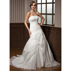 Newest Strapless A-Line/Princess Wedding Dresses Chapel Train Satin Organza Sleeveless