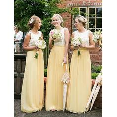 A-Line/Princess Scoop Neck - Chiffon Bridesmaid Dresses (007218554)
