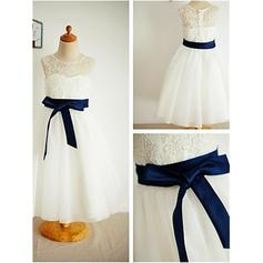 A-Line/Princess Scoop Neck Ankle-length With Sash Tulle/Lace Flower Girl Dresses