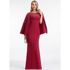 Sheath/Column Scoop Neck Floor-Length Stretch Crepe Evening Dress With Lace Sequins (017198643)