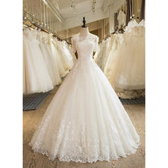 Gorgeous Floor-Length Ball-Gown Wedding Dresses Off-The-Shoulder Tulle Half Sleeves