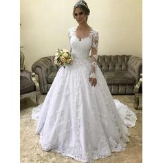 Scoop Ball-Gown Wedding Dresses Tulle Appliques Long Sleeves Court Train