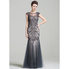 Tulle Sleeveless Mother of the Bride Dresses Scoop Neck Trumpet/Mermaid Beading Appliques Lace Sequins Floor-Length