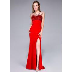 Jersey Sleeveless Trumpet/Mermaid Prom Dresses Scoop Neck Beading Sequins Split Front Sweep Train