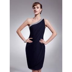 Sheath/Column One-Shoulder Knee-Length Chiffon Cocktail Dresses With Ruffle Beading