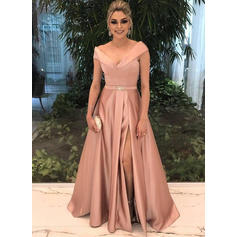 Satin Sleeveless A-Line/Princess Prom Dresses V-neck Beading Split Front Floor-Length
