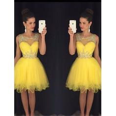 Modern Tulle Homecoming Dresses A-Line/Princess Knee-Length Scoop Neck Sleeveless