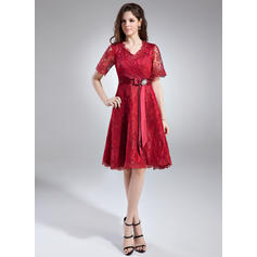 A-Line/Princess Lace Princess V-neck Mother of the Bride Dresses (008211020)