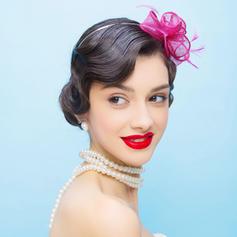 Ladies ' Smukke Netto garn med Fjer Fascinators